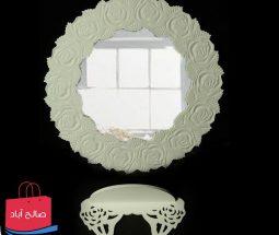 خرید عمده آینه و کنسول سفید طرح گل رز