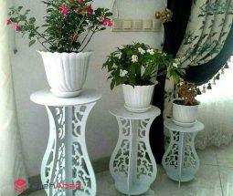 خرید عمده استند پایه گلدان سفید ۳ سایزی