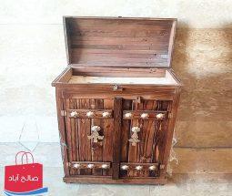 خرید عمده جا کفشی چوبی باکس دار طرح سنتی