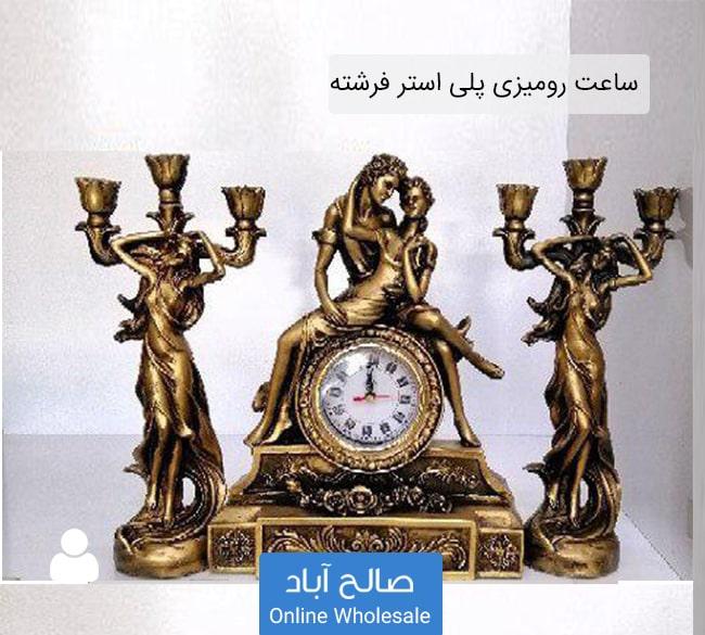 فروش عمده ساعت رومیزی با جا شمعی طرح فرشته