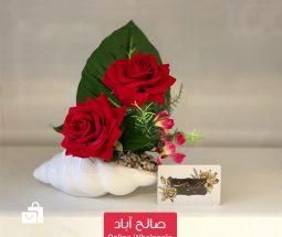 خرید عمده گلدان حلزونی و گل رز دوتایی