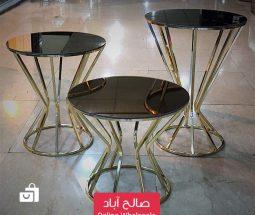خرید عمده میز عسلی سه تایی کف شیشهای