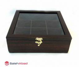 خرید عمده جعبه تی بگ چوبی مدل ۵ خانه