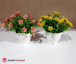 خرید عمده گلدان شمشاد مصنوعی گلدار