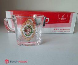 فروش عمده فنجان چای خوری بلور طرح گلدار