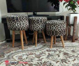 فروش عمده صندلی پاف ۳ پایه طرح پلنگی
