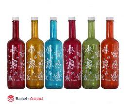 فروش عمده بطری شیشهای رنگی گلدار