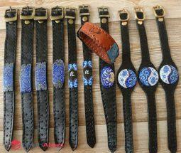 فروش عمده دستبند چرمی مینا کاری