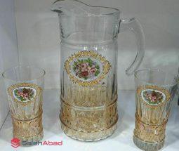 فروش عمده ست پارچ و لیوان بلور طرح گل رز