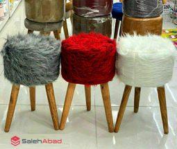 فروش عمده صندلی پاف خزدار سه پایه