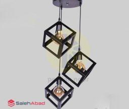 فروش عمده چراغ آویز ۳ شاخه مکعبی