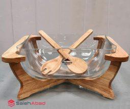 فروش عمده ظرف سالاد خوری پایه چوبی