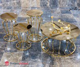 فروش عمده ست میز جلو مبلی و عسلی طلائی