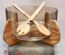 فروش عمده سالاد خوری شیشه ای پایه چوبی