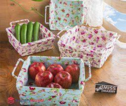 فروش عمده سبد مربعی پارچه ای گلدار
