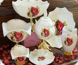 فروش عمده ظروف پذیرایی گلدار پایه برنز