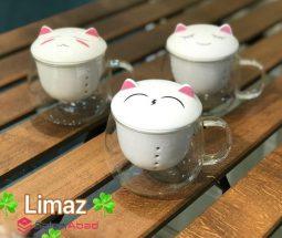 فروش عمده لیوان دمنوش ساز تپل طرح گربه
