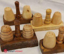 فروش عمده نمکدان جفتی چوبی با استند