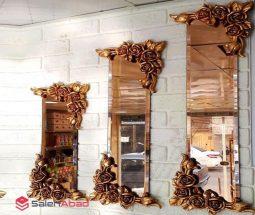 فروش عمده آینه دکوراتیو گل برجسته ۳ تکه