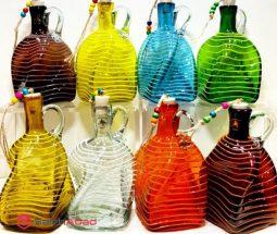 فروش عمده بطری شیشه ای ۴ گوش طرح پیچ