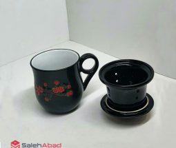 فروش عمده لیوان چای سبز تپل طرح گلدار