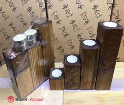 فروش عمده ست جاشمعی چوبی ۴ تایی