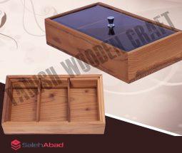 فروش عمده جعبه تی بگ چوبی درب شیشه ای