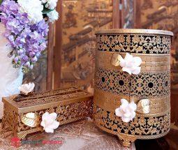 فروش عمده سطل و جا دستمال فلزی گل برجسته