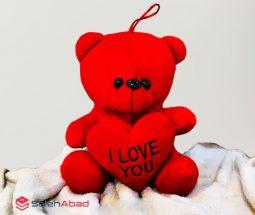فروش عمده عروسک خرس قلب دار قرمز