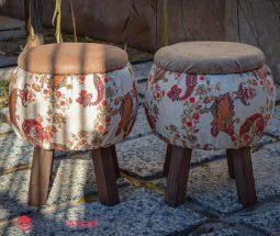 فروش عمده پاف دایره پایه چوبی طرح سنتی
