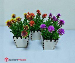 فروش عمده گلدان چوبی شمشاد مصنوعی