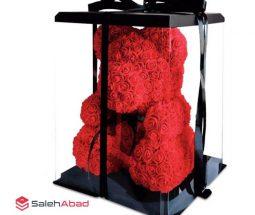 فروش عمده عروسک خرس با گل رز فومی