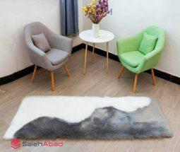 فروش عمده فرش خز مستطیل سفید طوسی