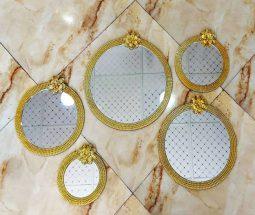 فروش عمده آینه دکوراتیو ۵ تایی گلدار