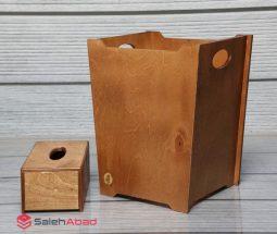 فروش عمده سطل زباله و جا دستمال چوبی