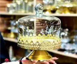 فروش عمده کیک خوری پایه دار طلایی