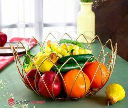 فروش عمده سبد میوه فلزی طرح لاله
