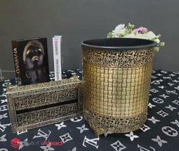 فروش عمده ست سطل و جا دستمالی طرح گلدار