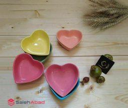 فروش عمده پیاله قلبی رنگی ۶ عددی