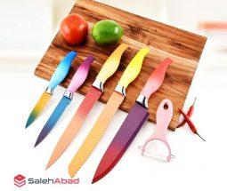 فروش عمده ست چاقو و پوست کن رنگی