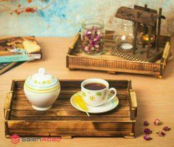 فروش عمده سینی چای چوبی پایه دار