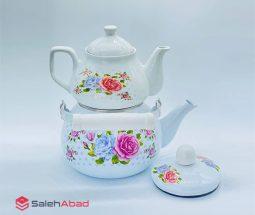 فروش عمده کتری قوری لعابی گلدار RASA